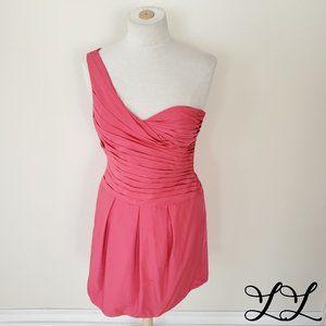 BCBG Maxazria Dress Pink One Shoulder Party Sexy